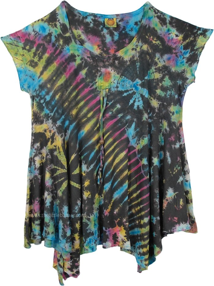 Tunic Length Short Dress with Tie Dye , Tie Dyed Woven Cap Sleeve Short Dress