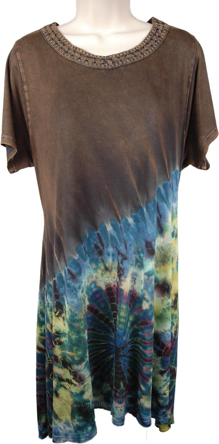 Short Dress Tie Dye in Bark Brown, Pine Cone Tie Dye Short Dress