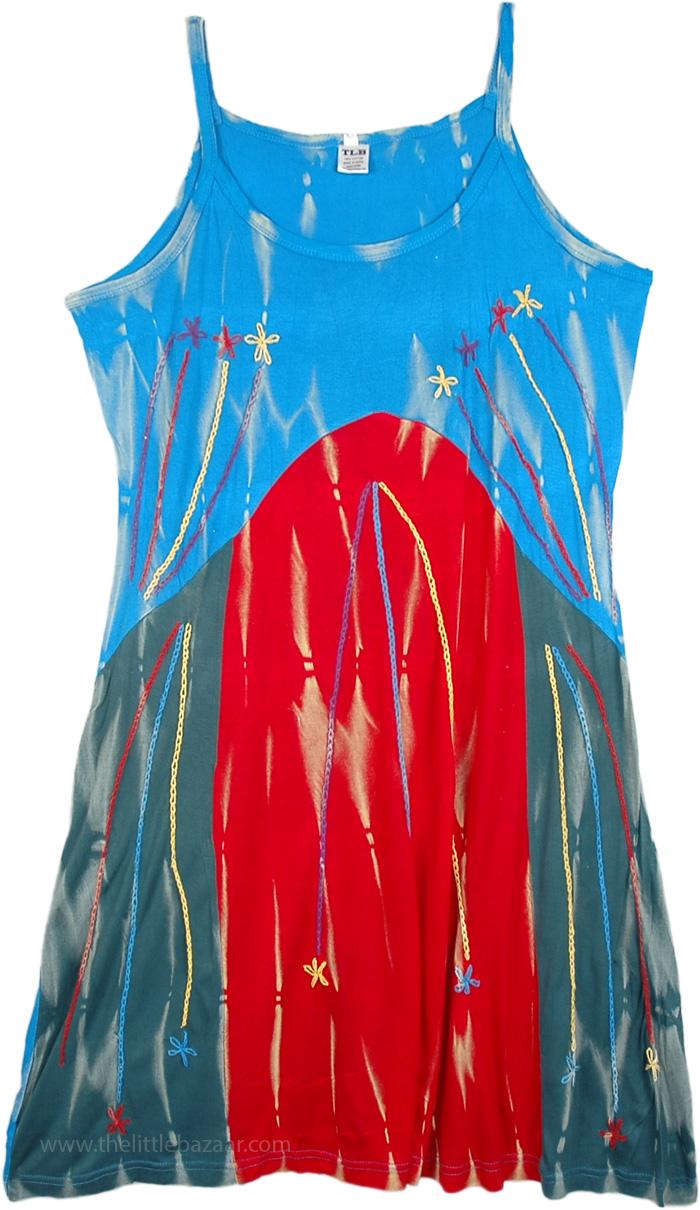 Cool Fall Nature Embroidered Dress, Groovy Summer Celebration Boho Dress