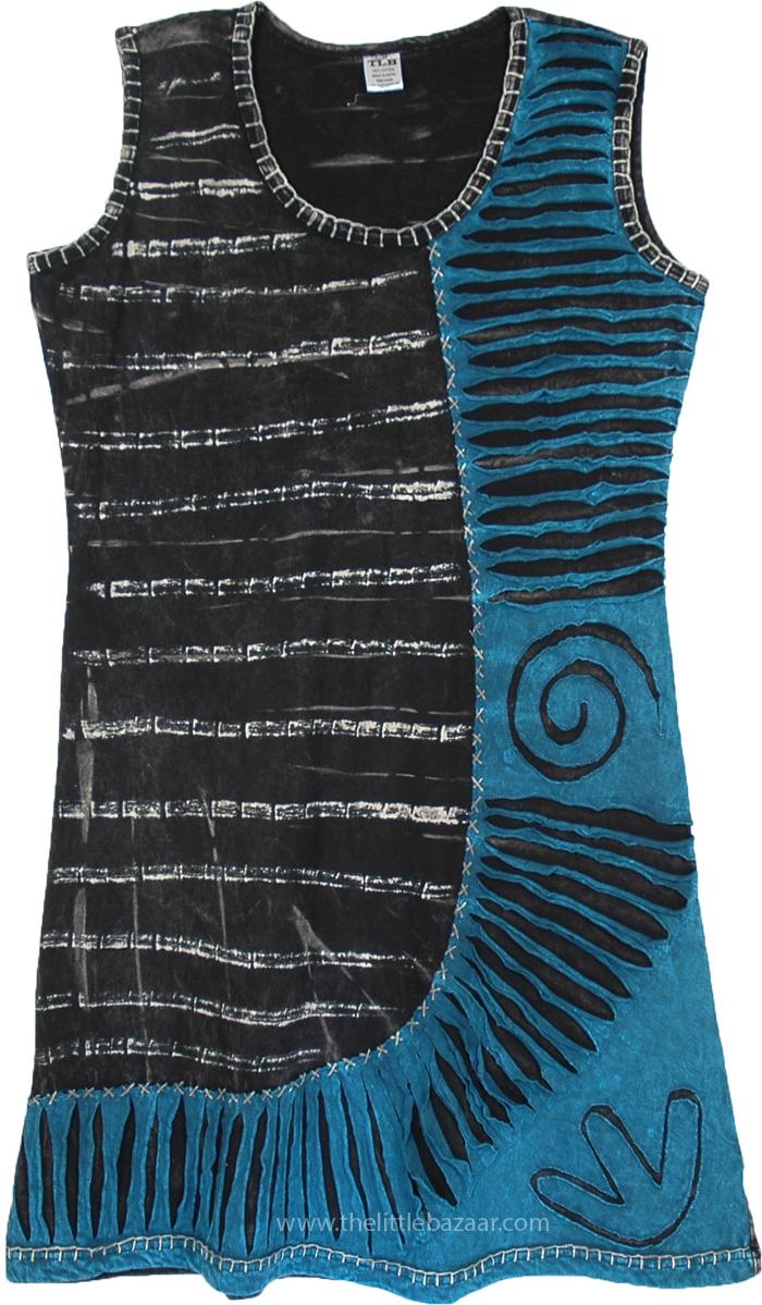 All Weather Boho Blue Black Short Dress, Jelly Bean Blue Razor Cut Boho Dress