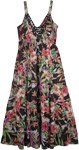 Sleeveless Black Floral Maxi Cotton Dress [4697]