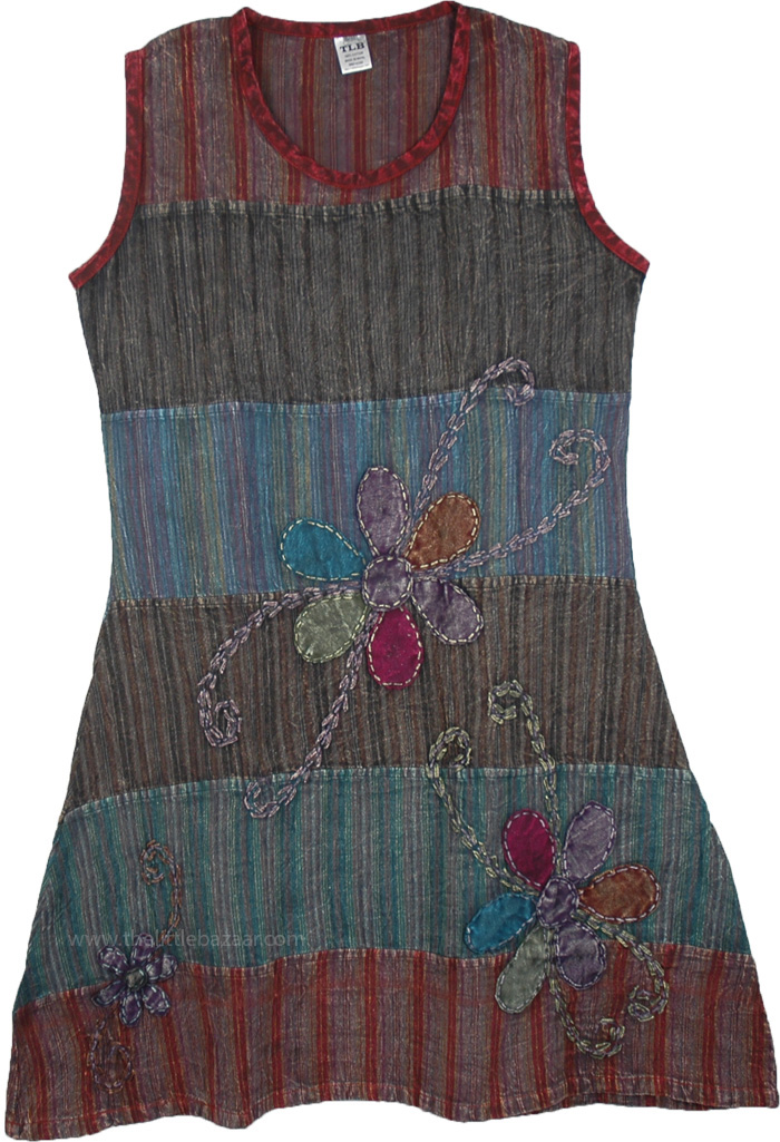 Spring Rains Floral Print Dress in Blue, May Flowers Stripped Sleeveless Summer Dress