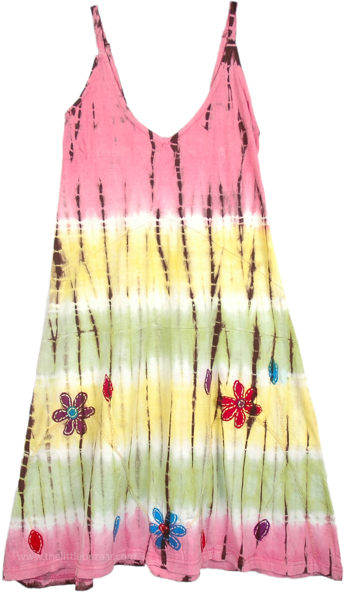 Cute Hippie Smocked Back Dress, Summer Floral Midi Length Dress