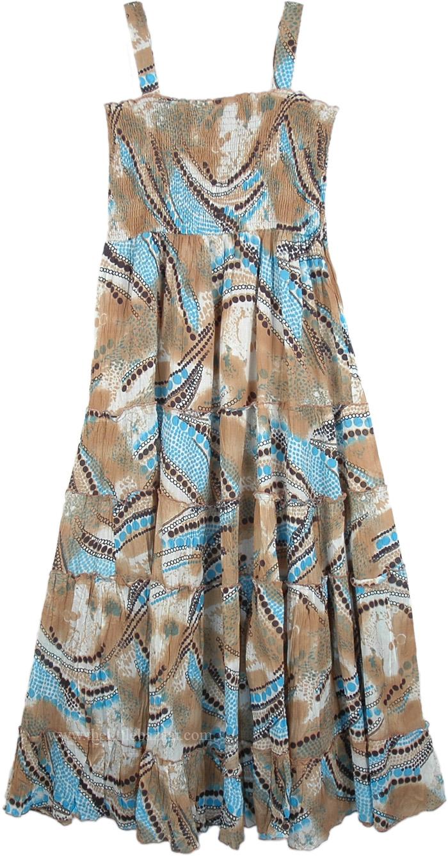 Gypsy Printed Bali Printed Sundress, Printed Bohemian Summer Maxi Dress Soft Printed