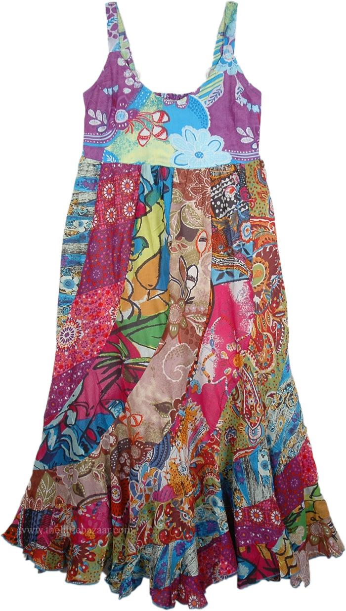 Boho Patchwork Summer Maxi Cotton Dress, Gypsy Hippie Chic Summer Cotton Maxi Dress