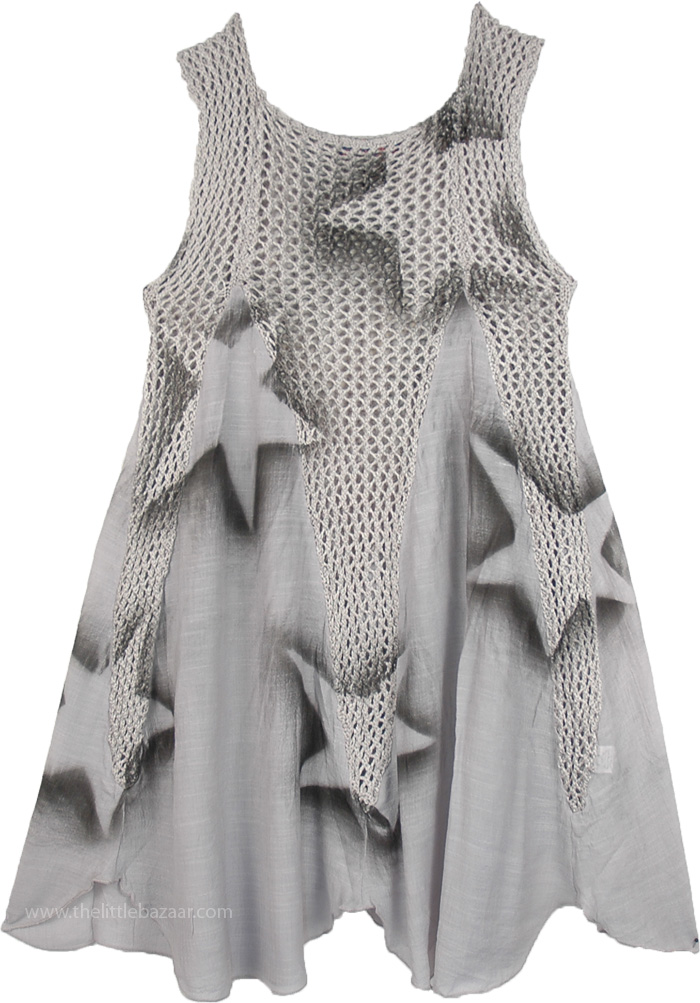 Short Boho Dress in Grey with Stars, Knit Crochet Short Sleeveless Dress in Grey