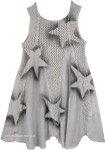 Short Boho Dress in Grey with Stars [4774]