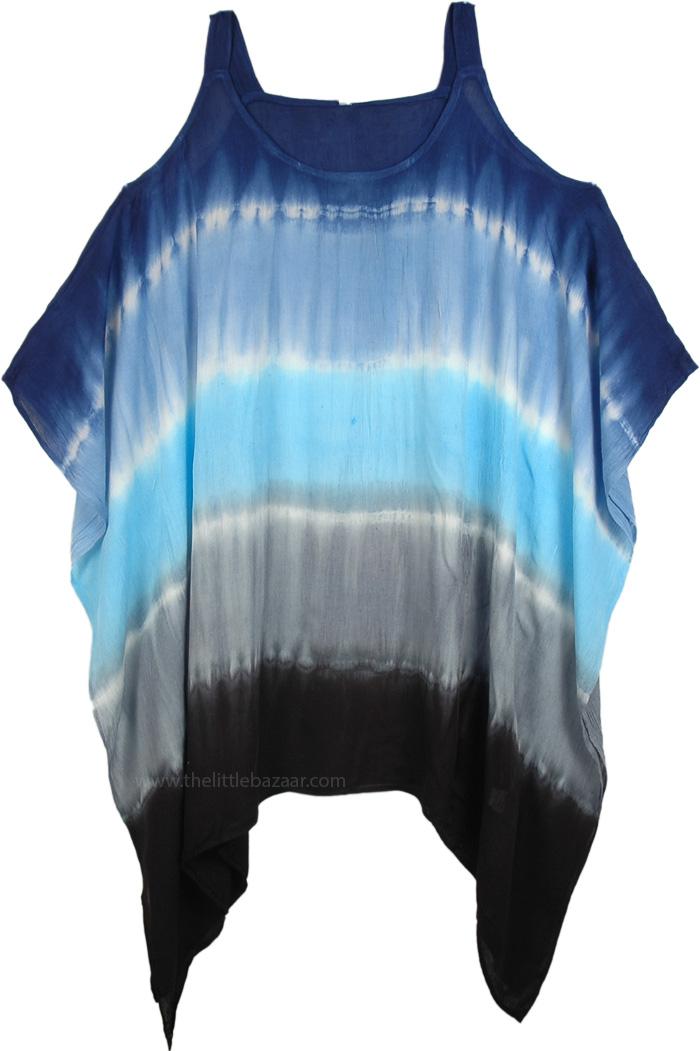 Cold Shoulder Bohemian Tunic Top Dress, Hippie Tie Dye Cold Shoulder Short Dress