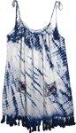 Groovy Royal Blue Tie Dye Dress with Fringed Hemline [4795]