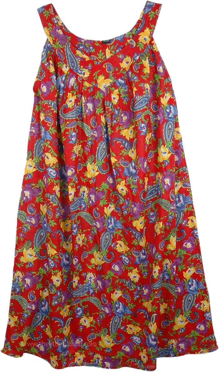 Bright Red Paisley Print Cotton Dress Dresses Sale On