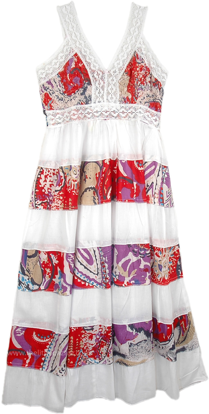 Floral Broomstick Patchwork Summer Dress, Tiered Printed Long Cotton White Dress