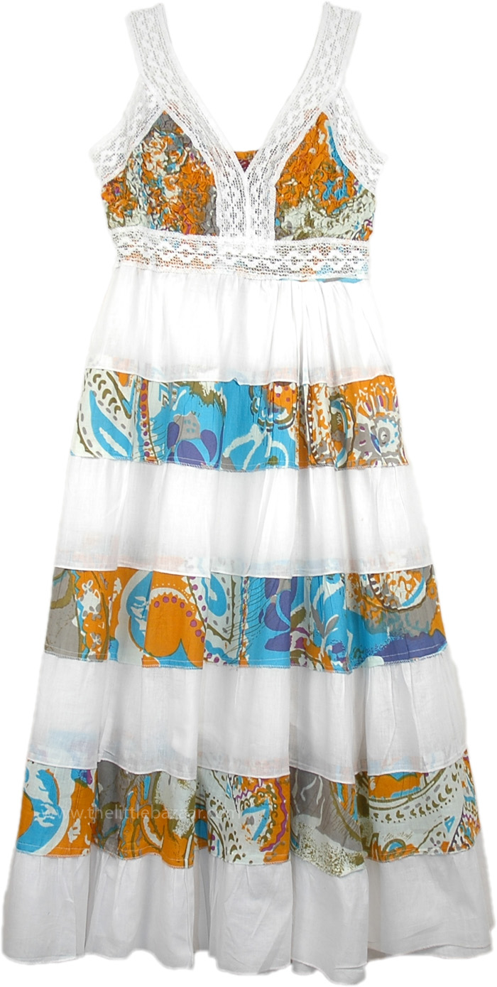 Ethereal Flowing White Maxi Dress with Print, Boho Beach Tiered Long Dress Cotton White