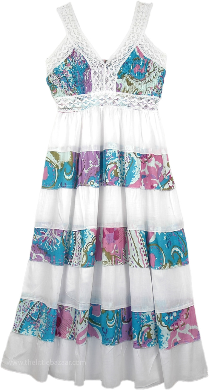 Ocean Sundress Fun and Flowy, White Blue Floral Summer Long Dress