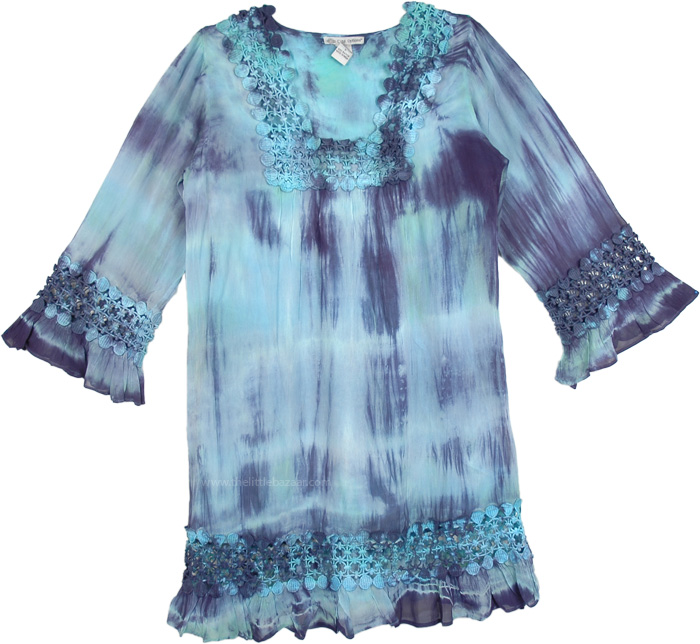 Womens Tunic Dress in Blue Green, Boho Vacation Tie Dye Tunic Dress