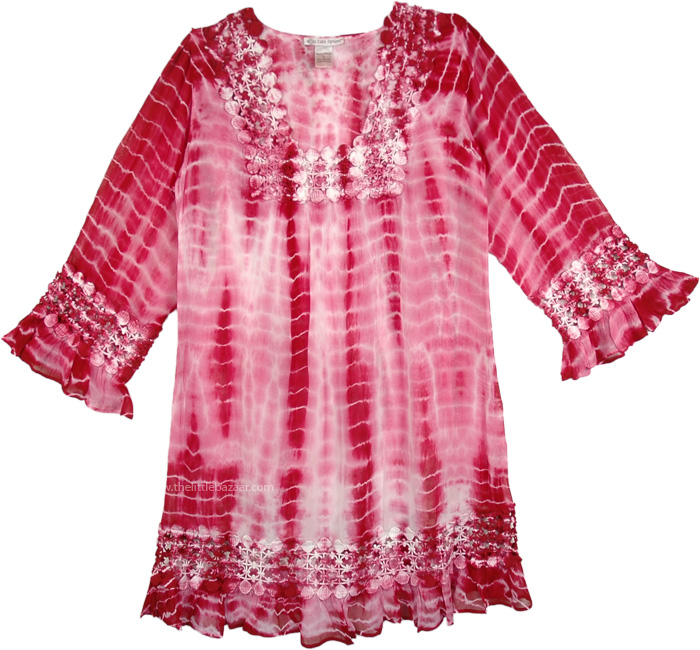 Womens Tunic Dress in Pink and Merlot, Gypsy Rose Tie Dye Tunic Dress