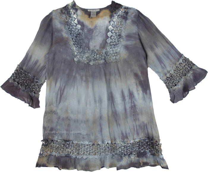 Short Women Tunic Dress with Leggings and Boots, Gray Chateau Tie Dye Crochet Tunic Dress