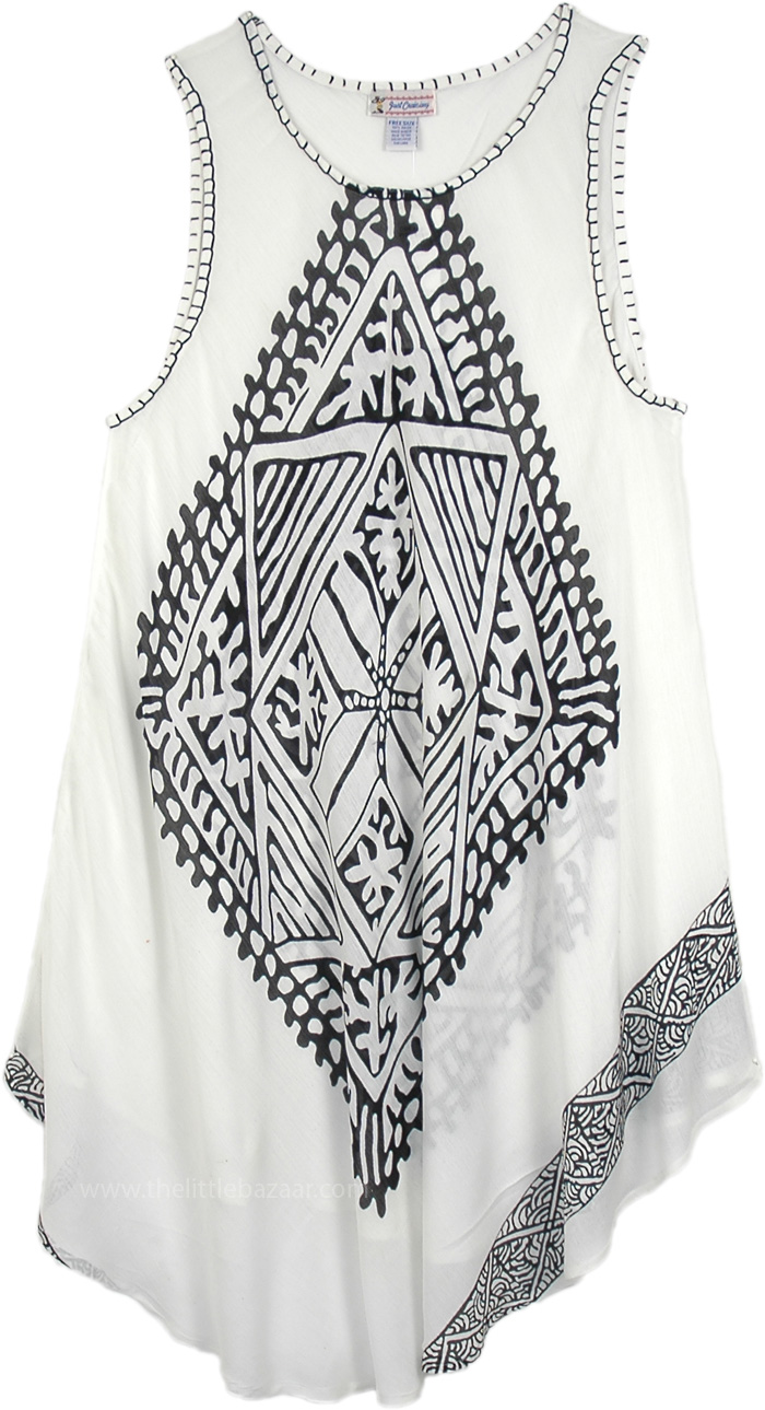 Lightweight Rayon Cruise Dress, Clarion Black and White Cover Dress