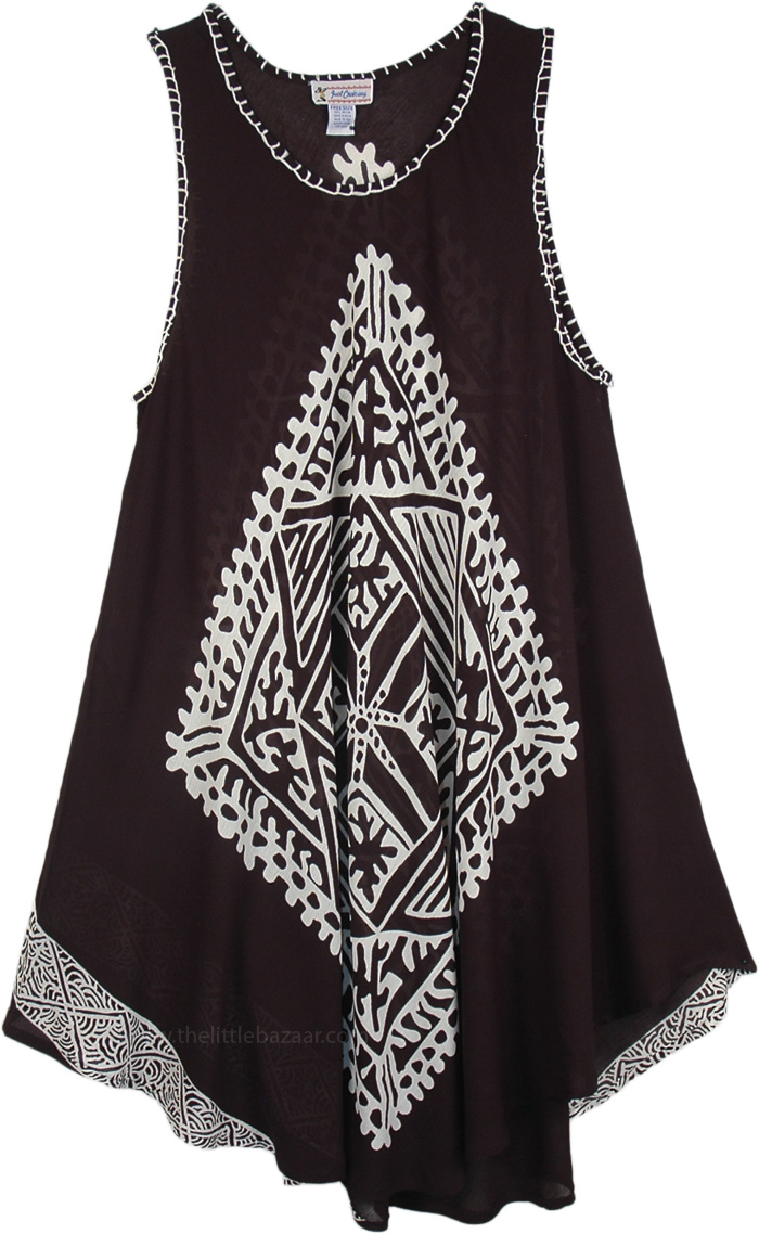Lightweight Rayon Resort Dress, Parlous Black and White Cover Dress