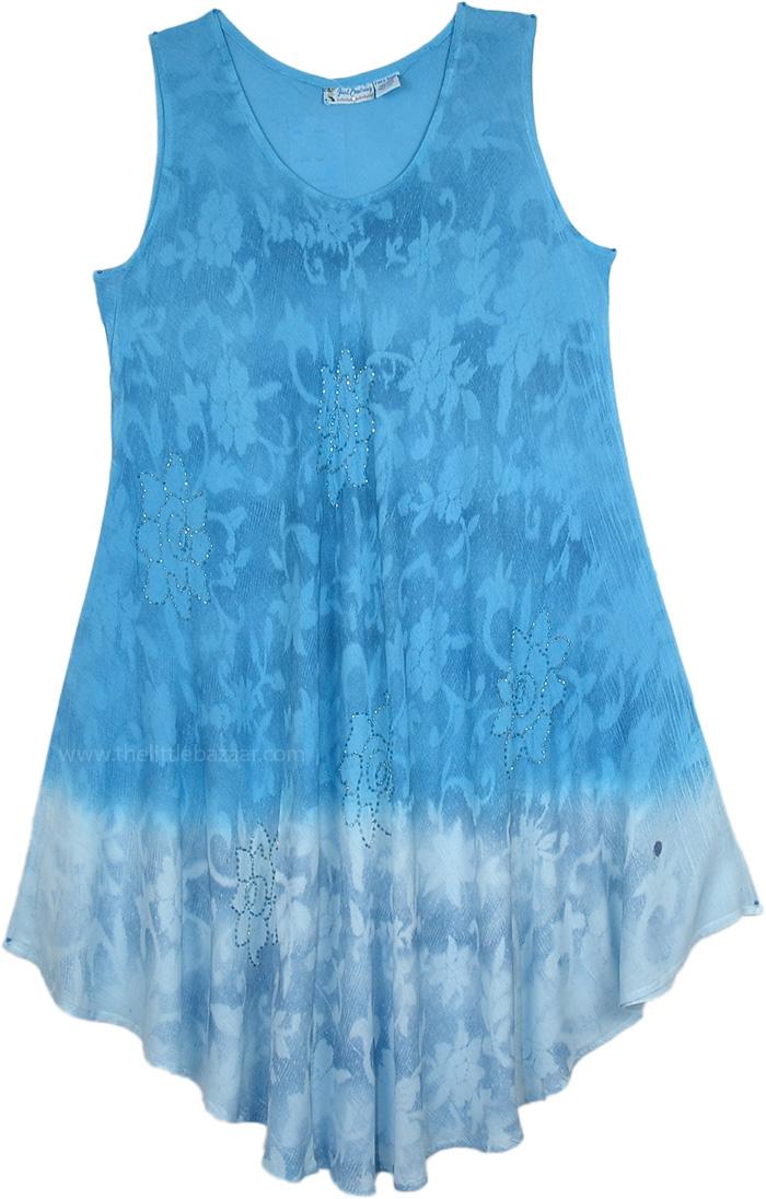 Vibrant Blue Flowing Drape Dress, Ombre Blue Printed Sparkles Trapeze Dress