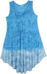 Ombre Blue Printed Sparkles Trapeze Dress