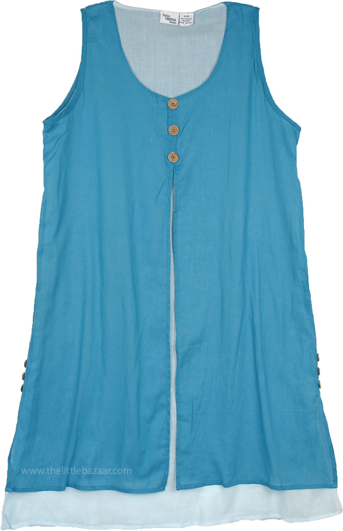 Sky Blue Double Layer Short Dress with Buttons