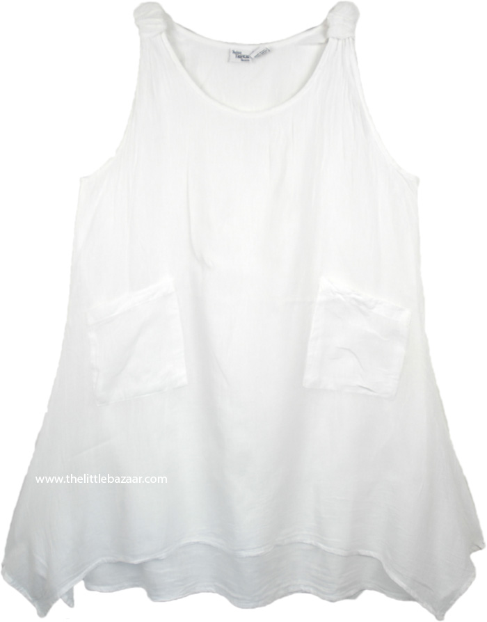 Cotton Tank Style Summer Dress in White Asymmetrical Hem