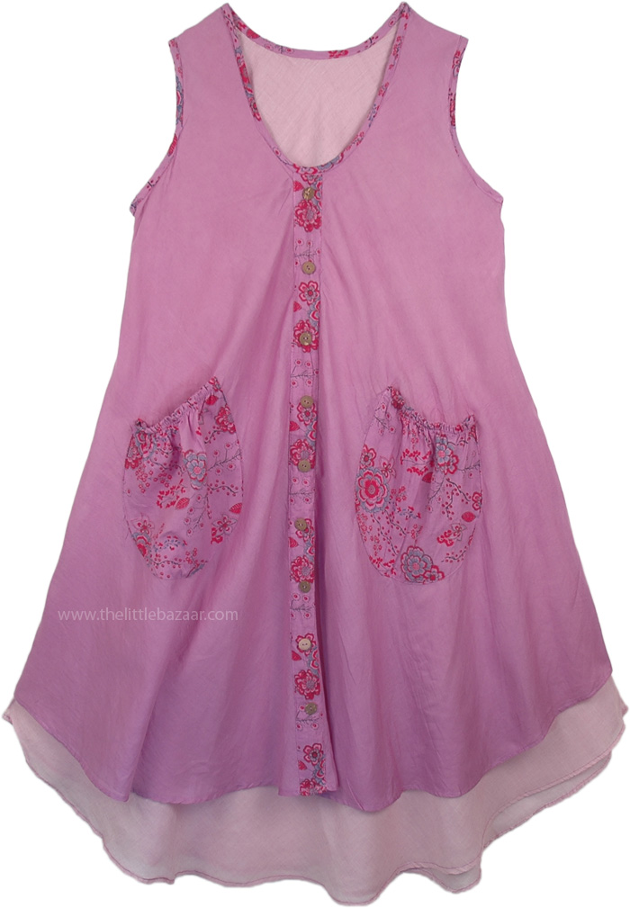 Hippie Cotton Sundress in Lavender Double Layered