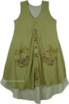 Leaf Green Double Layered Sleeveless Hippie Sundress