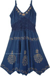 Medieval Styled Blue Western Rodeo Embroidered Dress