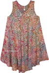 Plus Size Sleeveless Sundress Abstract Floral Batik