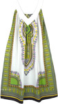 White Cotton Dashiki Sundress in Green Print with Pockets