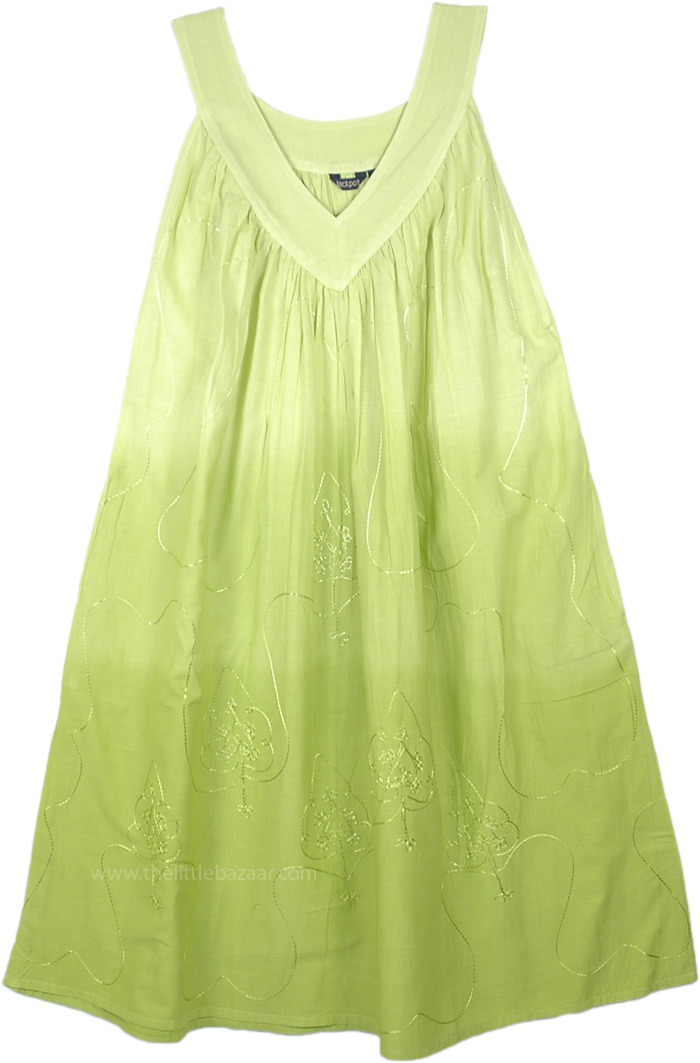 Lime Ombre Sleeveless Summer Dress with Embroidery