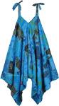 Blue Cotton Patchwork Harem Jumpsuit with Wide Leg