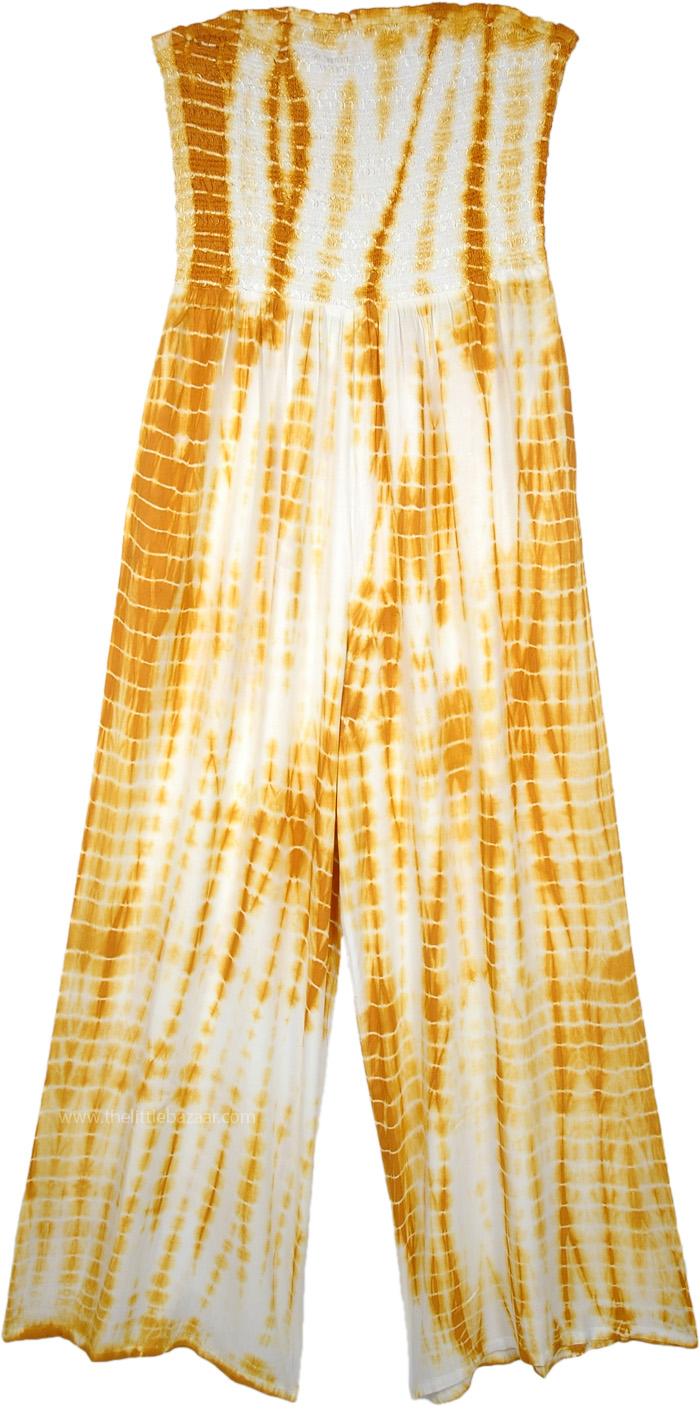 Golden Grass Tie Dye Smocked Off Shoulder Jumpsuit