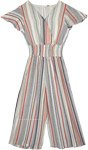 Summer Stripes Grey Jumper Outfit with Smocking Waist