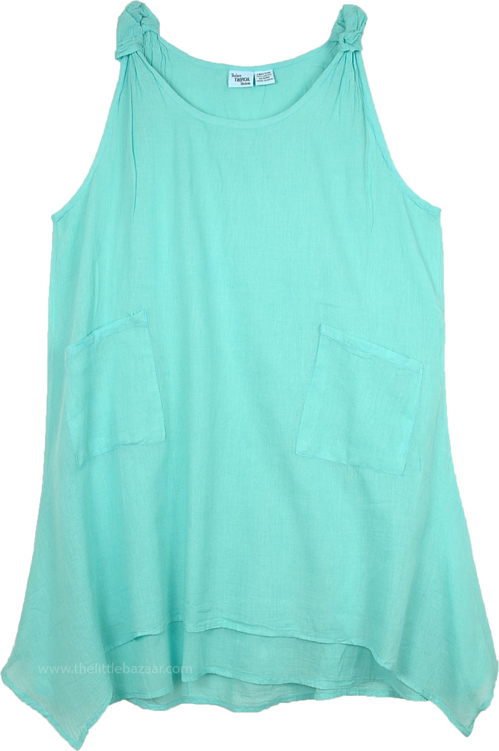 Sea Green Asymmetrical Hem Cotton Summer Tank Style Dress