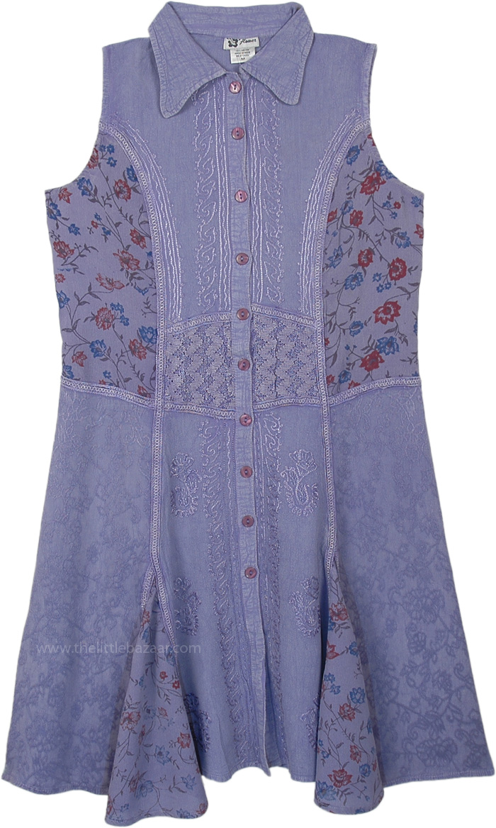 Dream Lavender Sleeveless Buttoned Dress with Embroidery