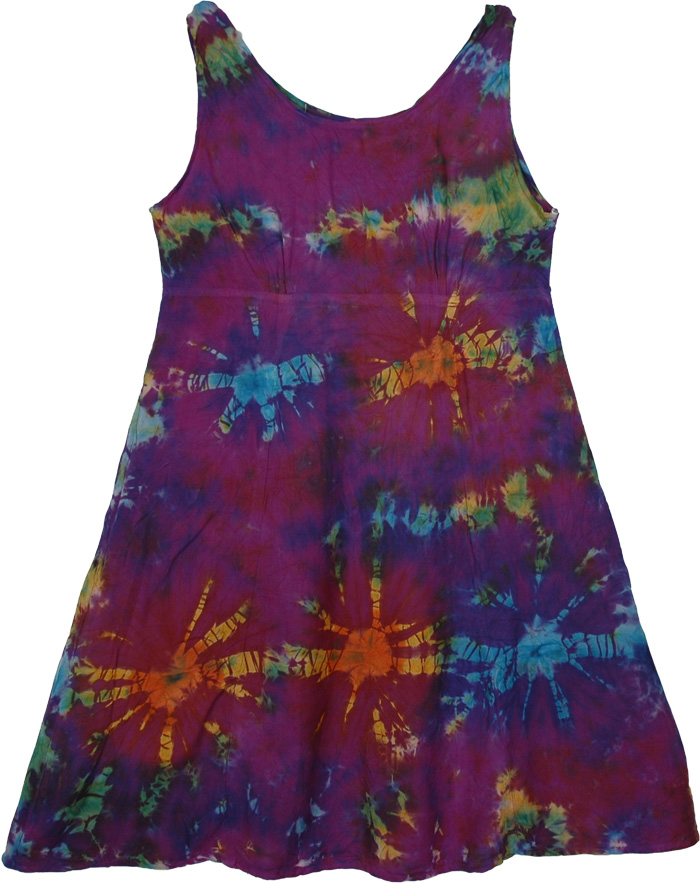 Purple Tie Dye Short Dress