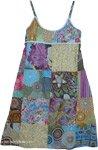 Short Summer Blue Patchwork Dress