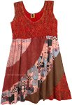Burnt Umber Patchwork Boho Dress