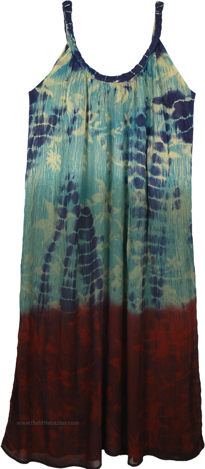 Water Waves Blue and Brick Red Tie Dye Dress