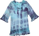 Blue Tie Dye Top Blouse Tunic with Crochet Lace