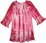 Gypsy Rose Crochet Tie Dye Tunic Top Long Shirt