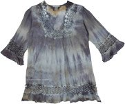 Gray Chateau Tie Dye Crochet Tunic Dress