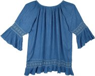 XL Ladies Rayon Bubble Sleeve Short Dress with Lace