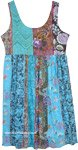 Turquoise Blue Multi-Floral Cotton Dress