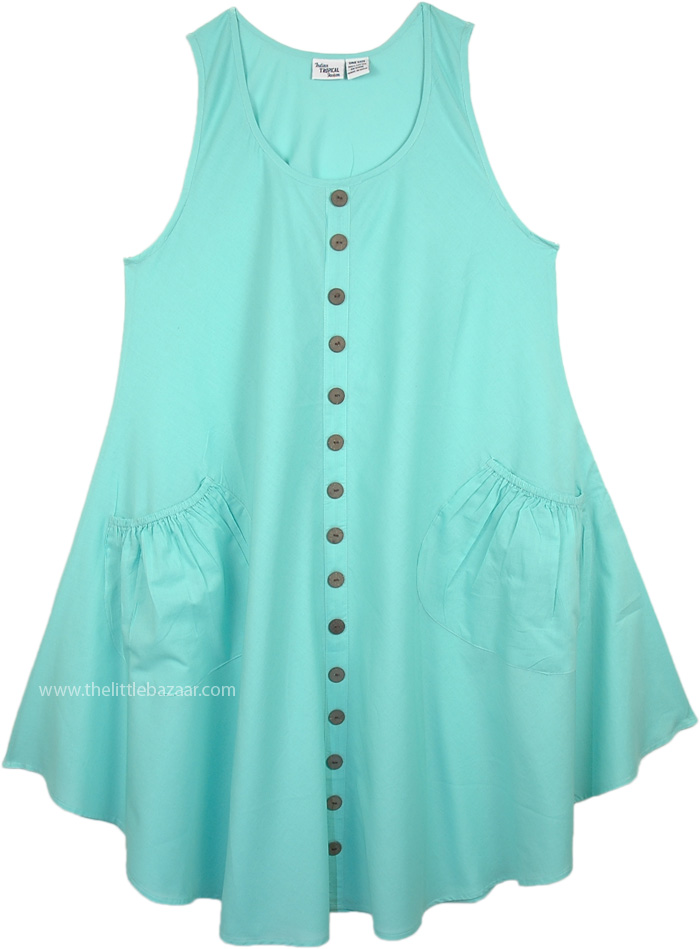Sea Green Sleeveless Cotton Beach SunDress