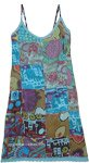Hippie Boho Cotton Summer Blue Patchwork Dress