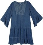 Denim Blue Acid Wash Rayon Dress with Crochet Detail