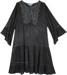 Spooky Gray Acid Wash Dress with Crochet Tie Front